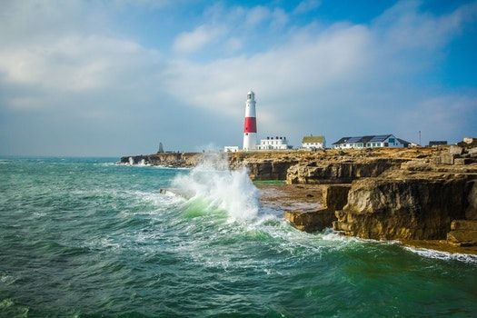 Free stock photo of ocean, waves, lighthouse, england