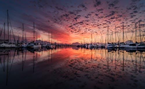 Foto profissional grátis de água, alvorecer, barcos, barcos a vela