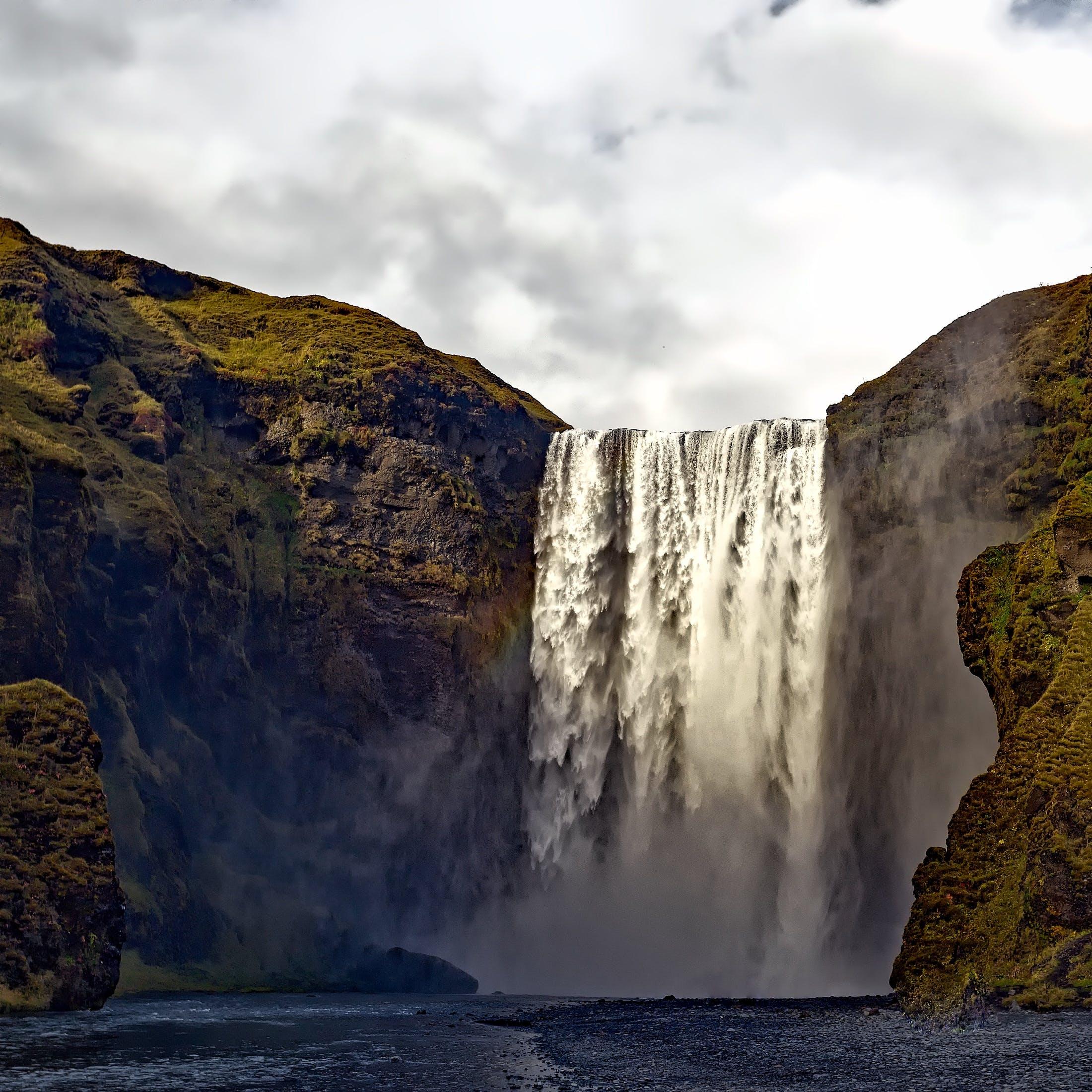 cascade, cliff, landscape