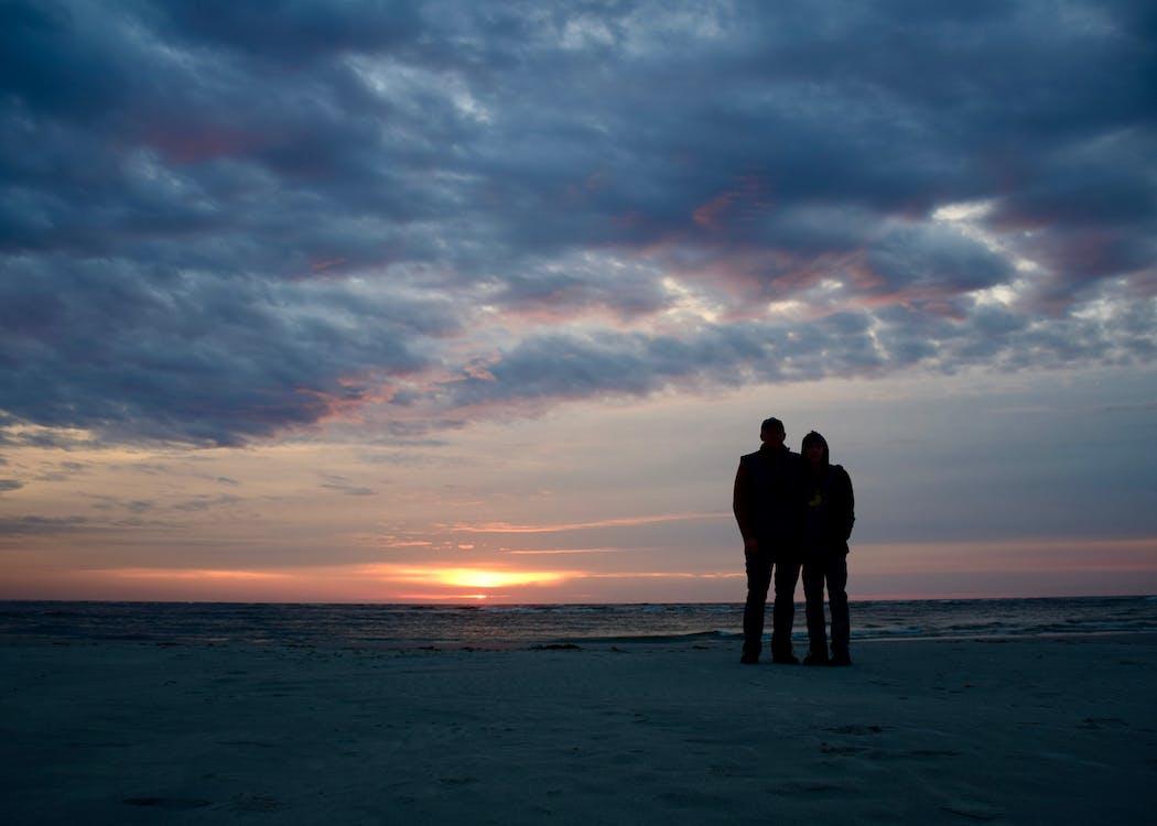 兒子, 日出, 海灘