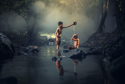 Free stock photo of people, water, fog, creek