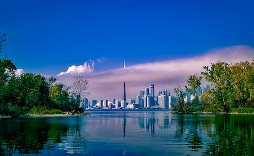 Darmowe zdjęcie z galerii z budynki, chmury, drapacz chmur, drzewa