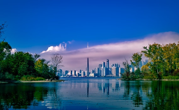 Free stock photo of city, sky, water, clouds