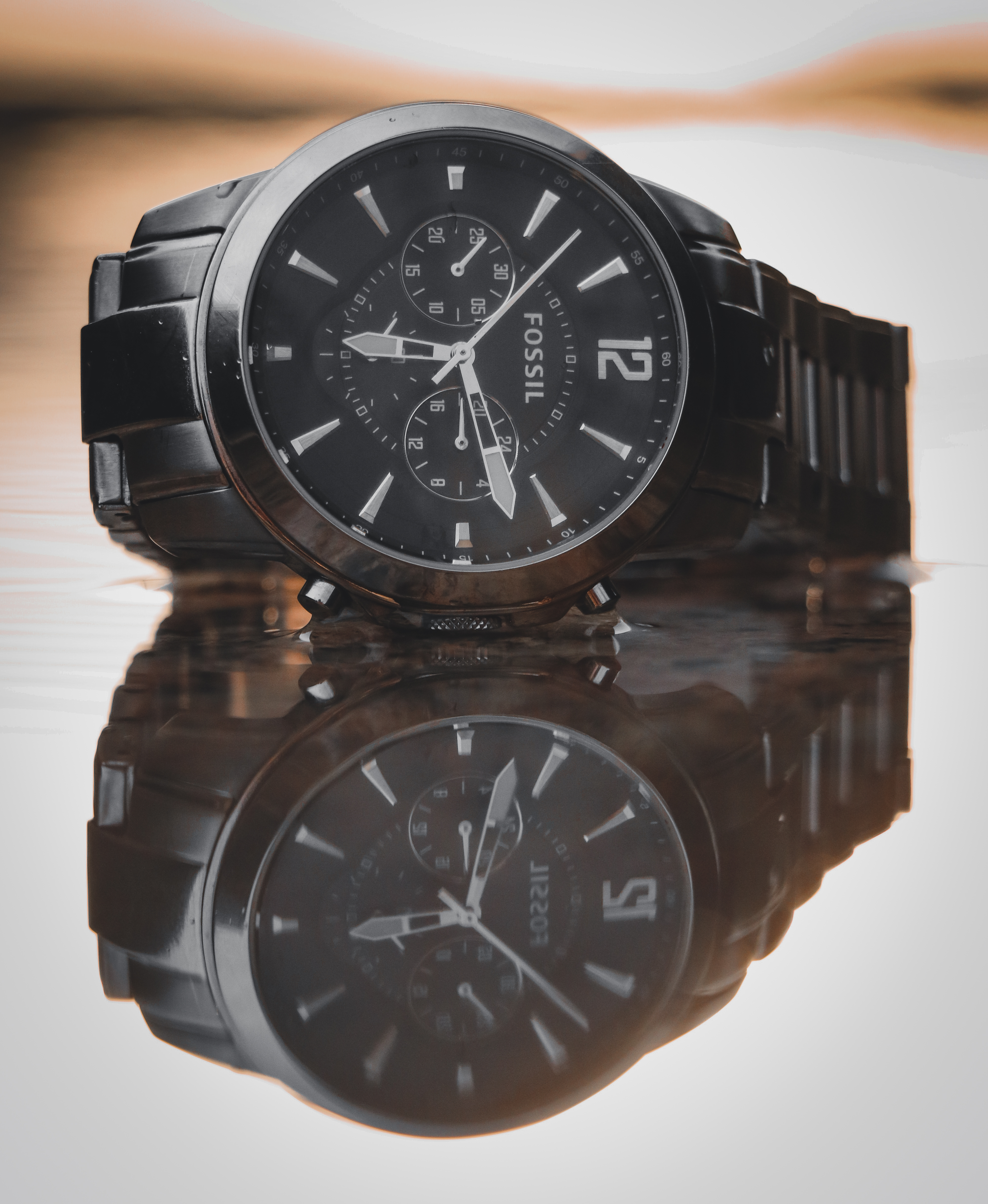 Round Black Fossil Chronograph Watch With Link Band