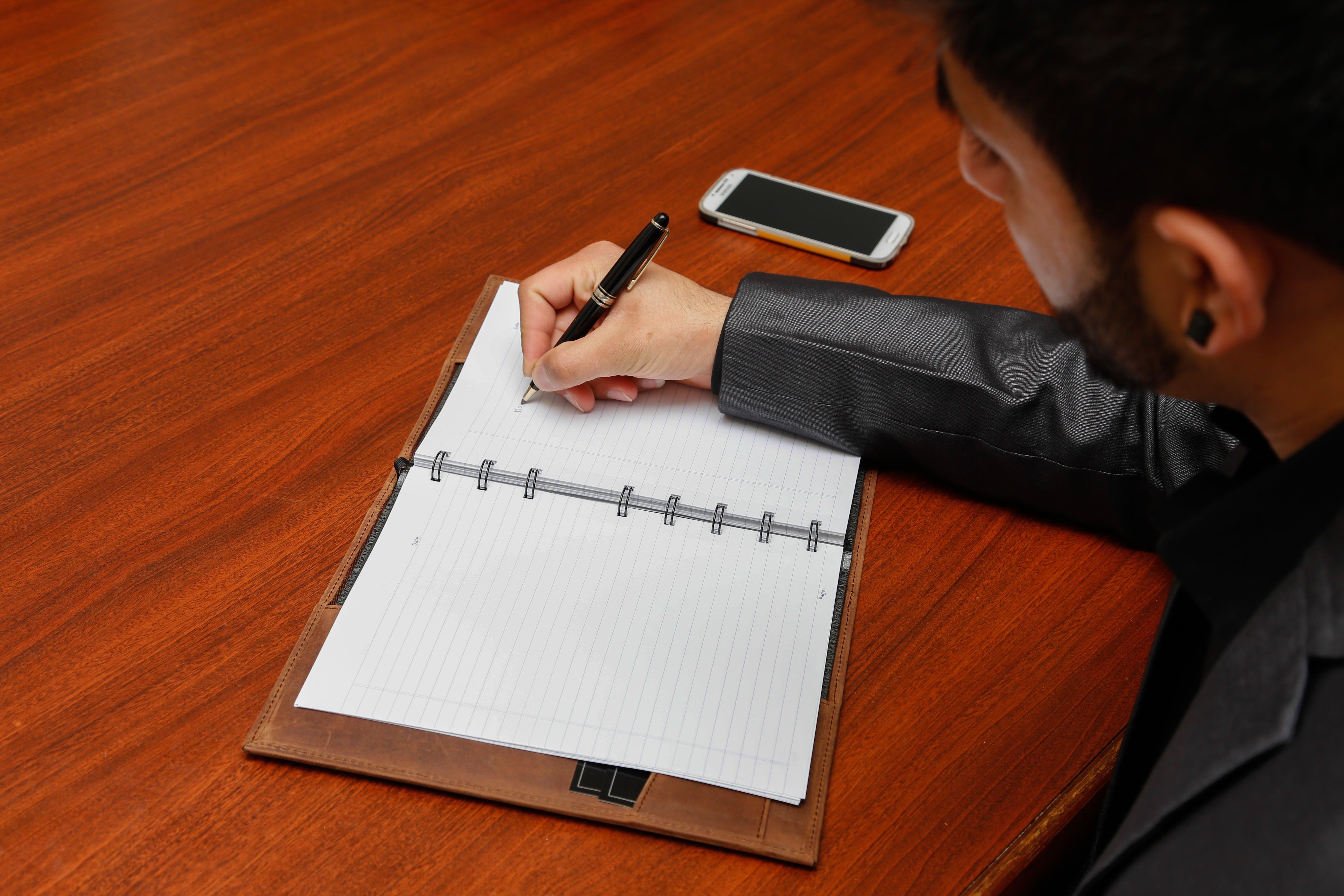 desk, man, notebook
