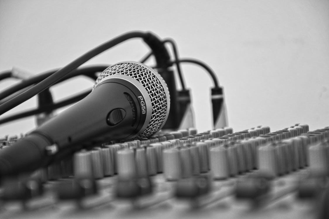 Professional Microphone on Audio Mixer