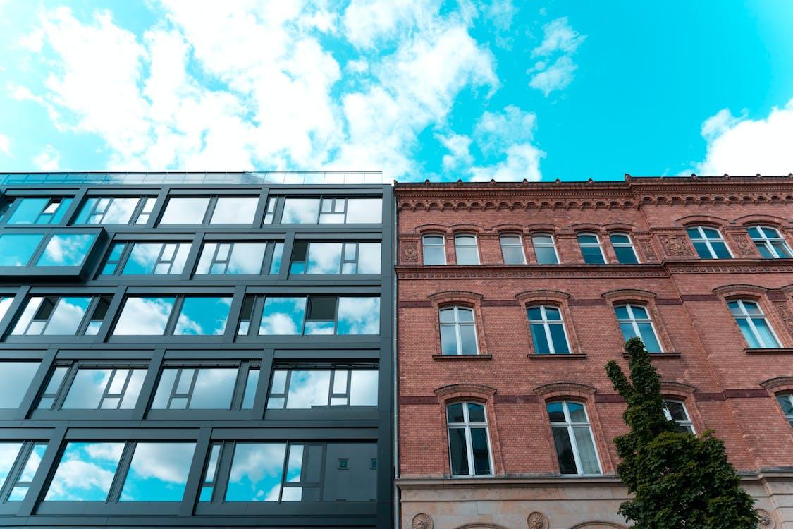 apartmentgebäude, architektur, aufnahme von unten