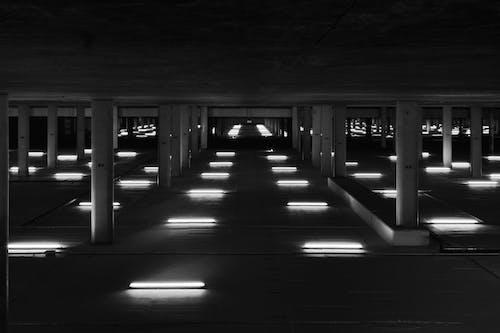 คลังภาพถ่ายฟรี ของ กลับหัวกลับหาง, ขาวดำ, ที่จอดรถ, รถไฟใต้ดิน