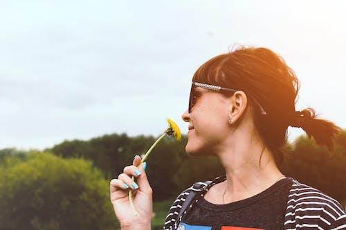 Δωρεάν στοκ φωτογραφιών με γυαλιά ηλίου, γυναίκα, κίτρινο άνθος, κράτημα