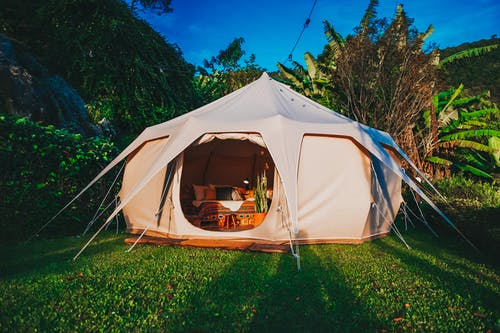 Camping Tent on Grass Lawn