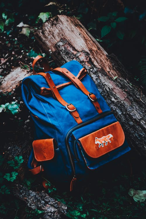 Blue and Brown Knapsack