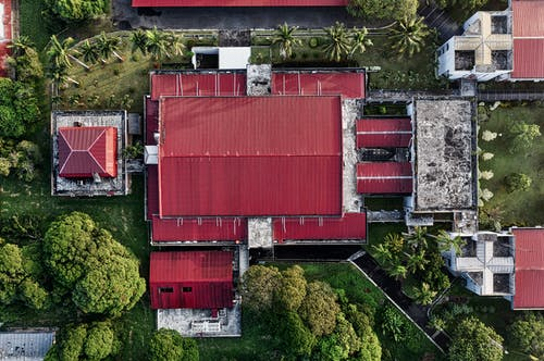 Bird's Eye Photography of Red and White Building