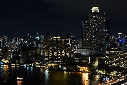 Free stock photo of city, lights, night, water