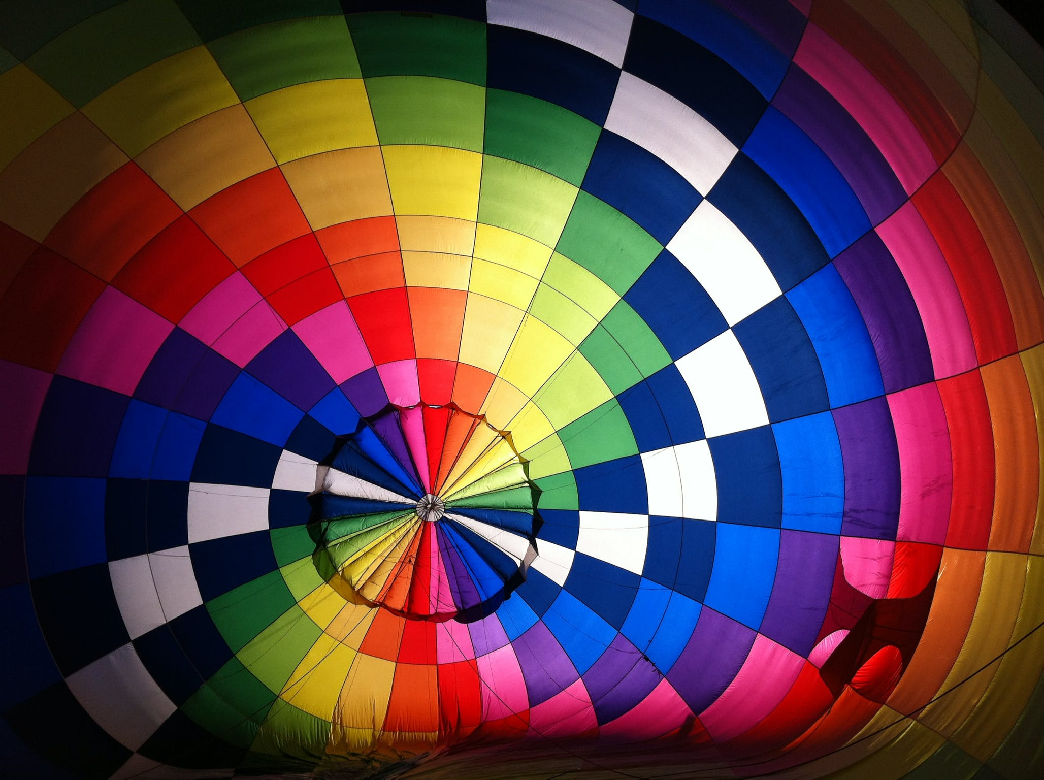 Top View of Multicolored Hot Air Balloon