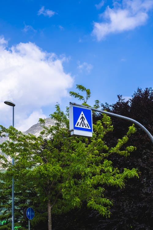 Blue Crosswalk sign