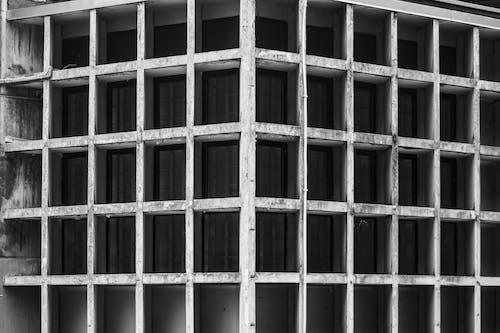 คลังภาพถ่ายฟรี ของ ขาวดำ, คอนกรีต, สถาปัตยกรรม, อาคาร