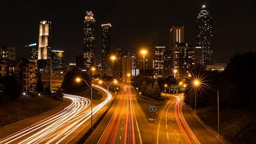 다리, 도시, 도심, 밤의 도시의 무료 스톡 사진