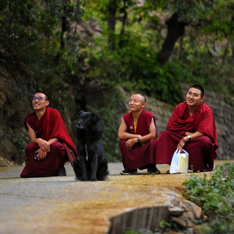 Three Monks Sitting On Road