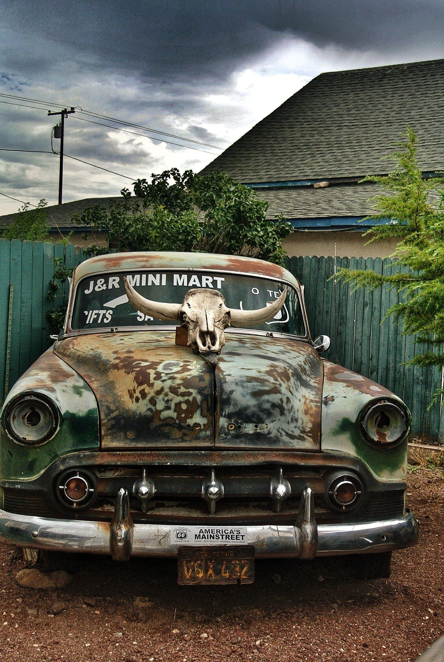 abandoned, antique, automobile