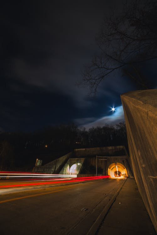 Time-Lapse Photography of Road Tunnel at Night