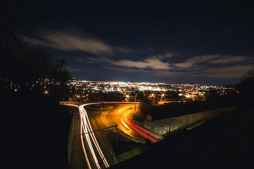 光迹, 晚上, 晚間, 查塔努加 的 免费素材照片