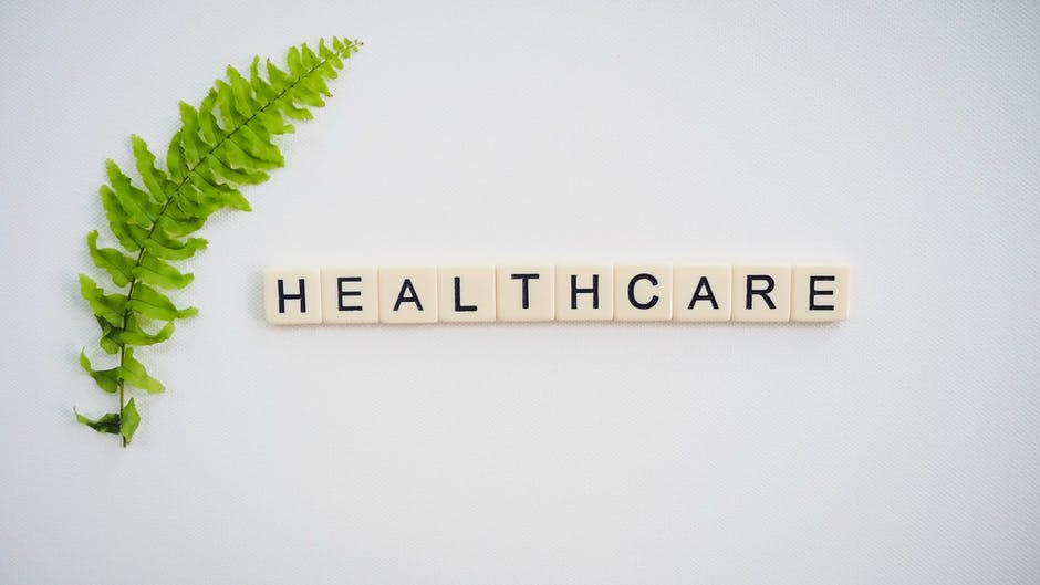 Healthcare text screenshot near green fern leaf