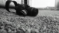 black-and-white, camera, rocks