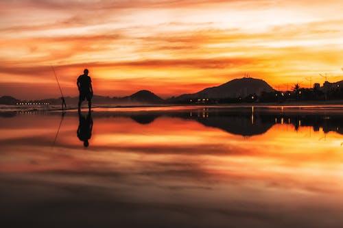 Gratis stockfoto met alleen, gouden horizon, man loopt, omtrek