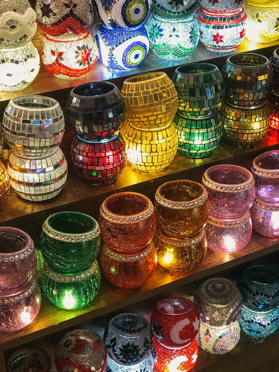 Assorted Mosaic Glass Candle Holders on Shelf