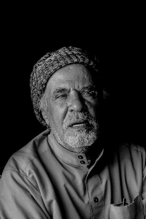 anziano, barba, bianco e nero