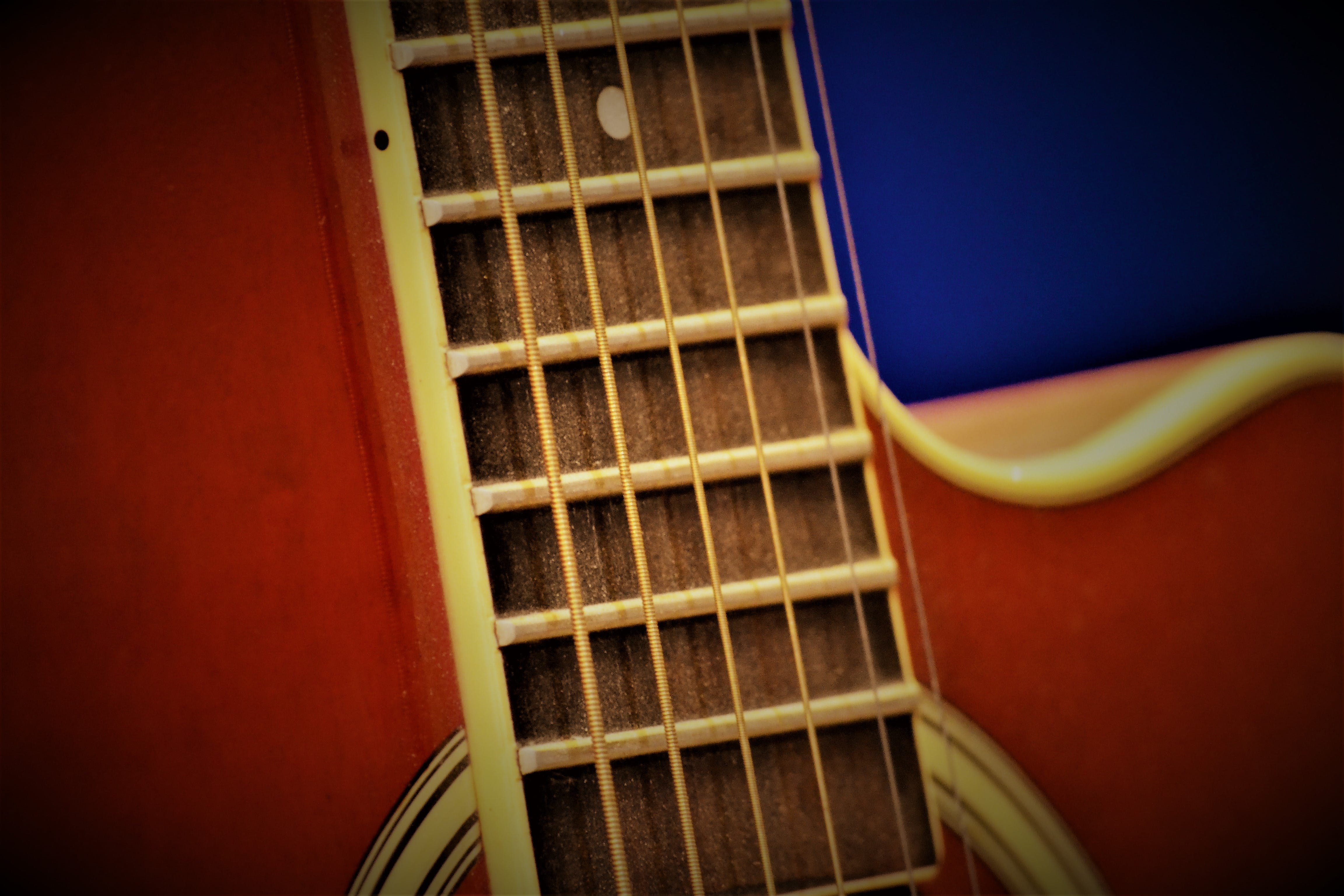 Free stock photo of acoustic guitar, guitar strings
