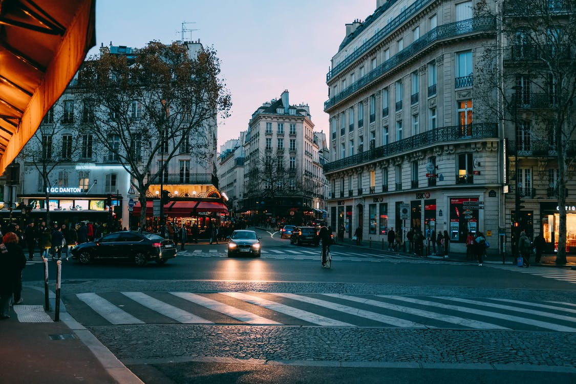 architektura, asfalt, auta