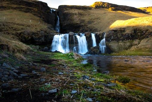 Foto stok gratis air terjun, Islandia, malam hari, pemandangan indah
