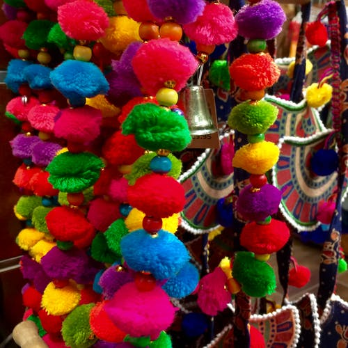 Free stock photo of colorful pom poms