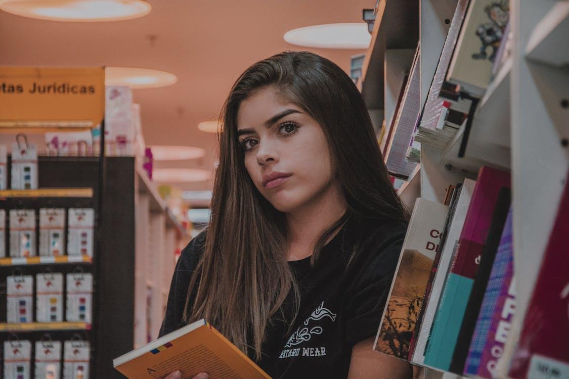 afslappet, aktie, bibliotek