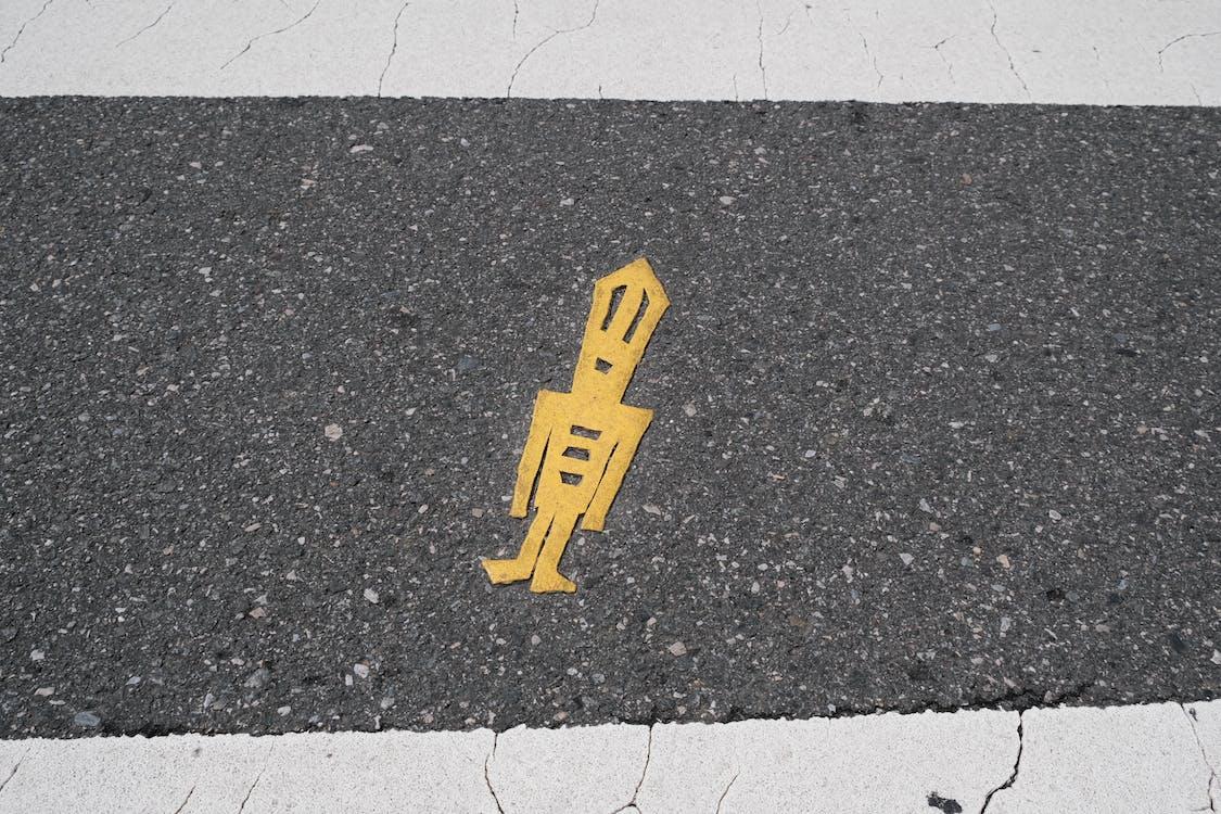 advarsel, angrepsspiller, asfalt