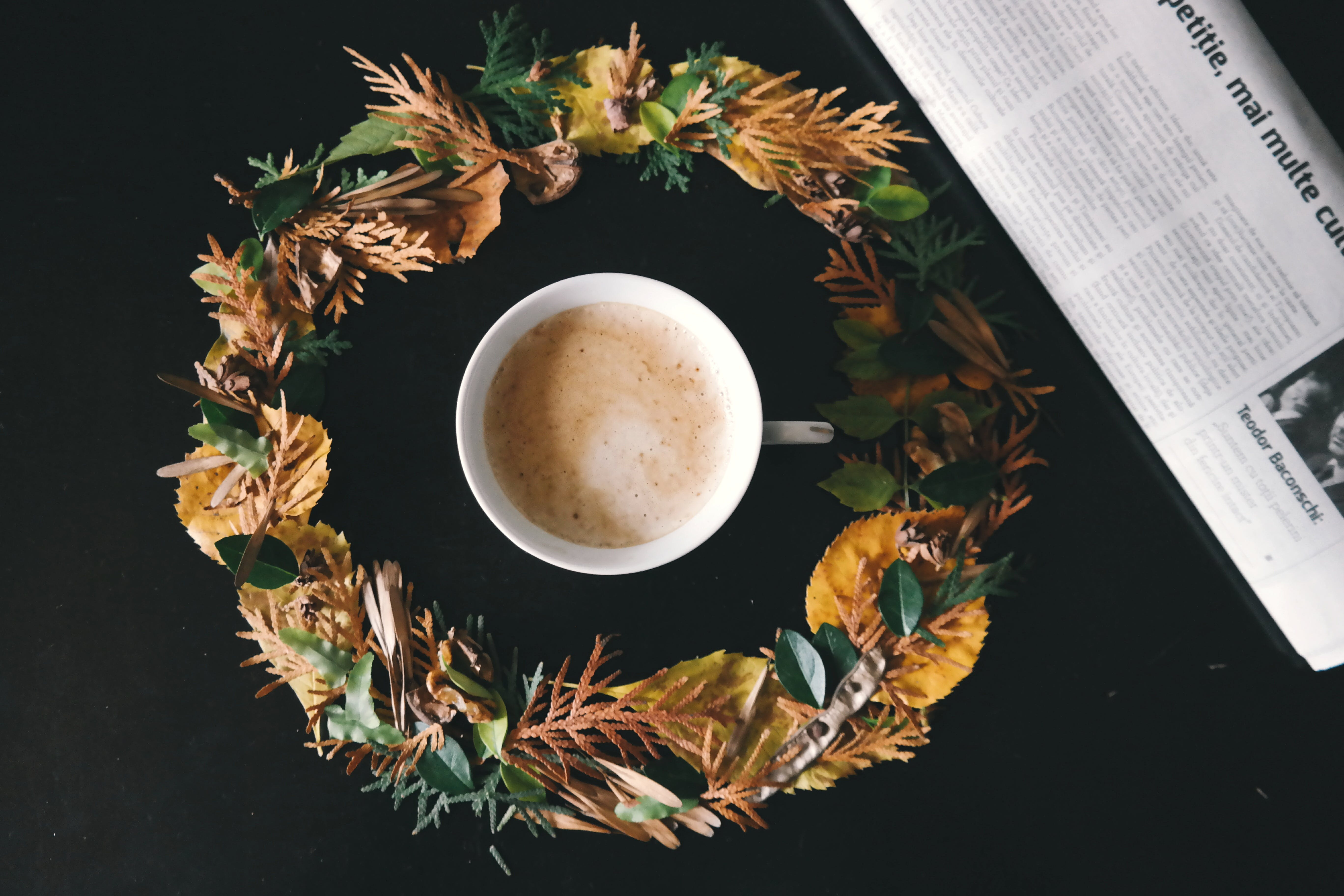 White Cup of Coffee in the Middle of Yellow and Green Flower Wreath
