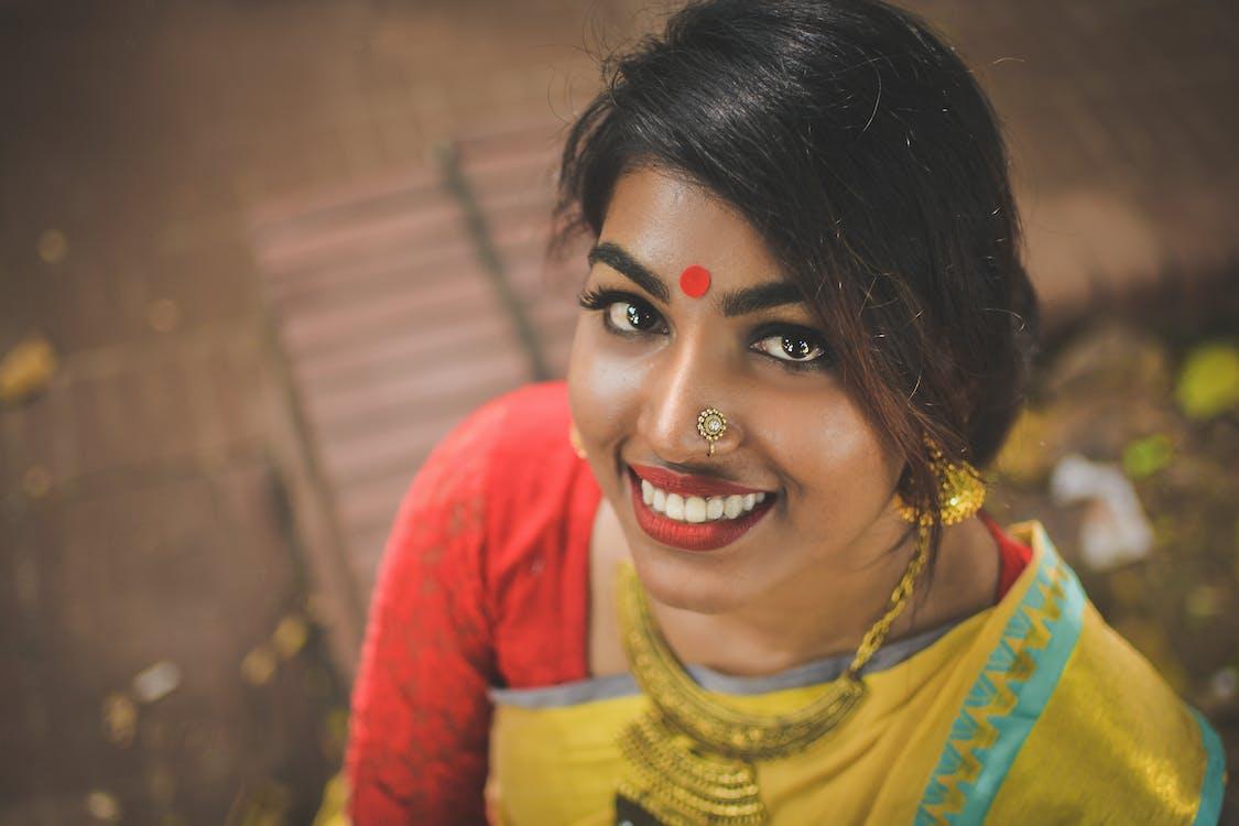 Close-Up Photo of Woman Wearing Saree