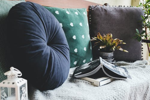 Throw Pillows Beside Books