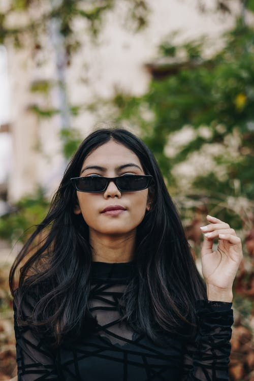 Woman Wearing Black Sunglasses
