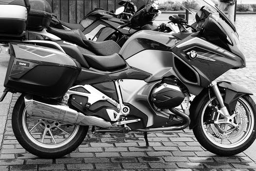 Free stock photo of black-and-white, pavement, BMW, motorcycles