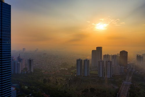 Aerial Photography of Cityscape during Golden Hour