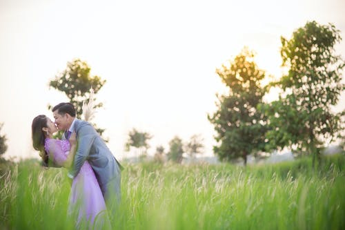 Shallow Focus Photo of Man Kissing Woman on Grass Field