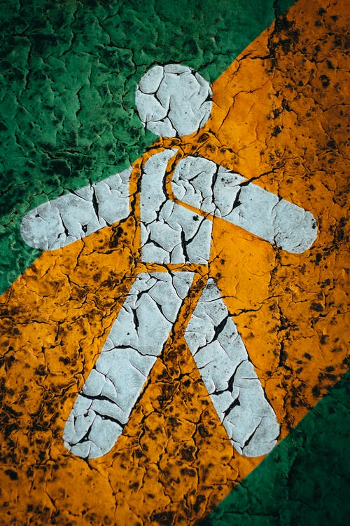 White Walk Pedestrian Signage