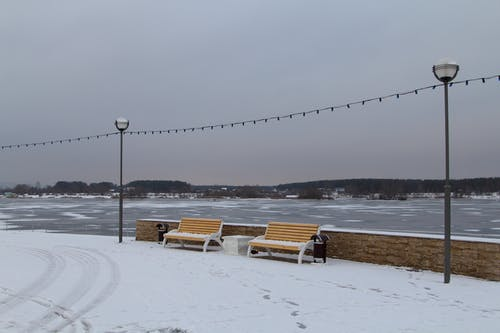 Fotobanka sbezplatnými fotkami na tému krajina, ľad, lavičky, panoráma mesta