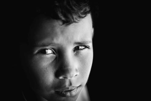 Close-up Grayscale Photo of Boy