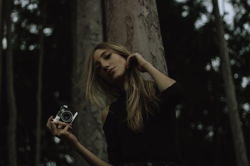 Δωρεάν στοκ φωτογραφιών με γυναίκα, δέντρα, κάμερα, κοίταγμα κάτω