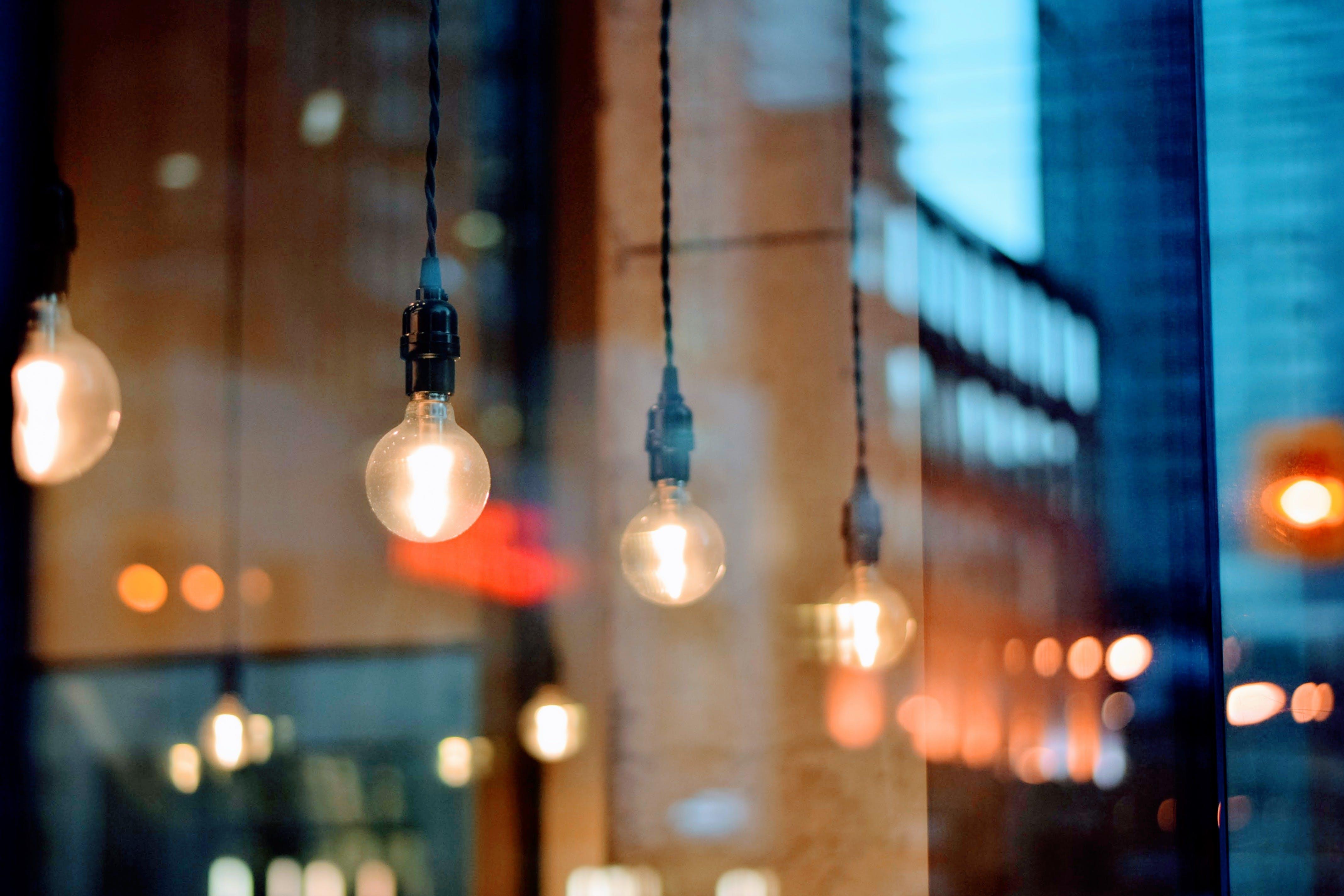 Selective Focus Photography of Light Bulbs