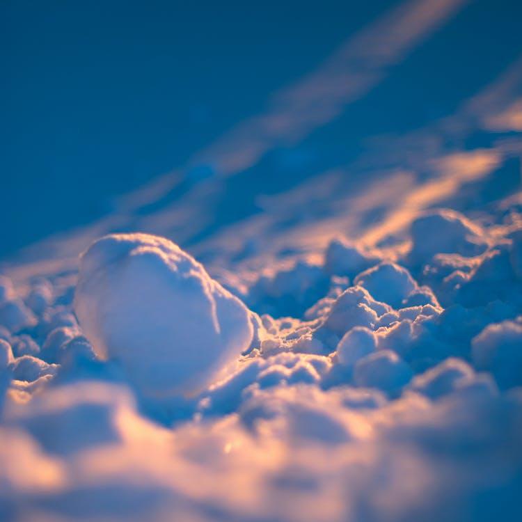 makro, niebieski, śnieg
