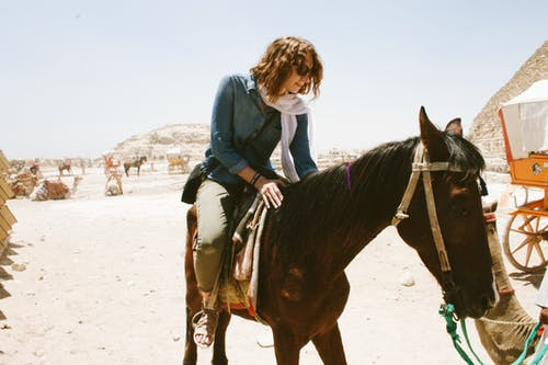 Woman Wearing Blue Long-sleeved Shirt Riding Brown Horse